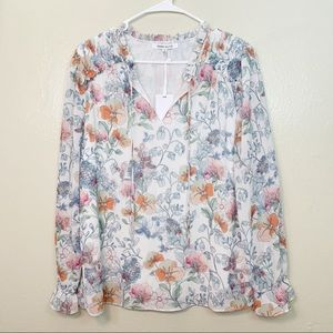 💙ROSE+OLIVE FLORAL LONG SLEEVE BLOUSE NWT SZ M
